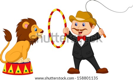 Lion Tamer with lion - stock vector