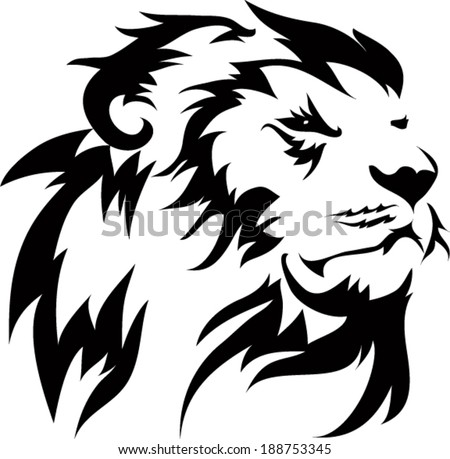 Tribal lion stock images royalty free images vectors for Black and white lion tattoo