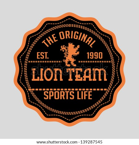 lion team shield vector art - stock vector