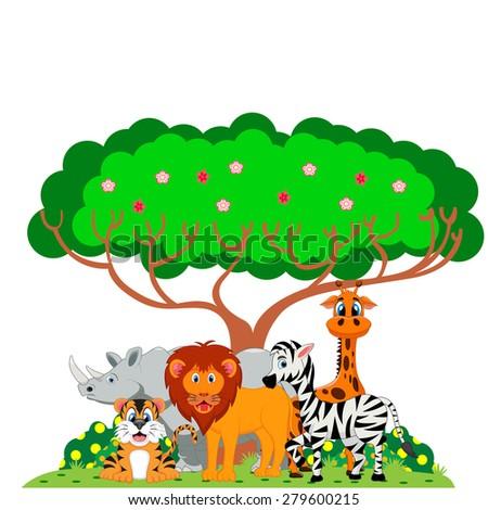 lion, tiger, zebra, rhino and giraffe were playing under a tree - stock vector