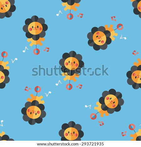 lion toy flat icon,eps10 seamless pattern background