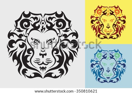 Lion tribal art graphic style.
