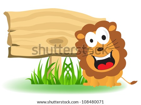 lion with a blank sign board - stock vector
