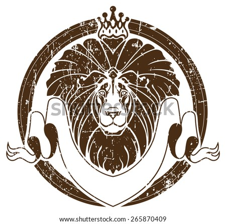 Lion with crown as emblem - stock vector