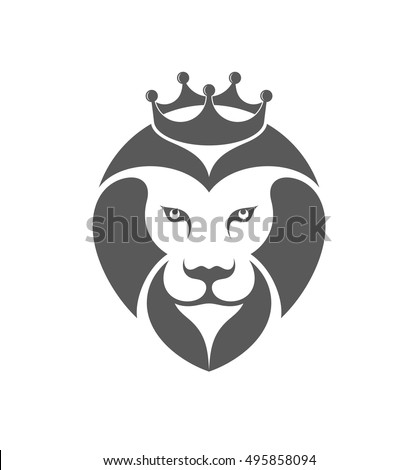 Lion With Crown Logo Vector Illustration