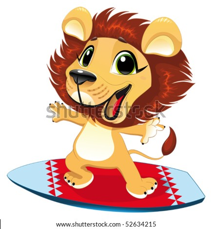 Lion with surf. Funny cartoon and vector  character - stock vector