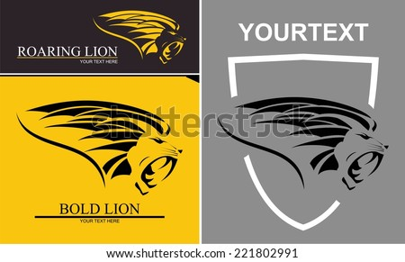 Lion with text, Lion and shield - stock vector