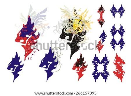 Lions head symbols isolated on a white background. Tribal roaring lion head symbols with splashes and lions elements - stock vector