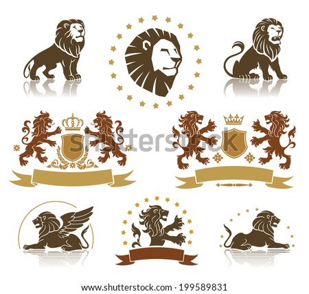 Lions heraldic set with banners, ornaments and crowns - stock vector