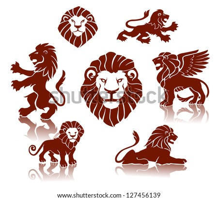 Lions Silhouettes set - stock vector