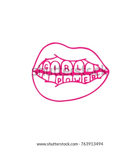 Lips Girl Power Traditional Tattoo Flash