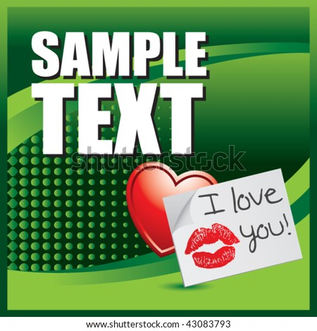 lips on love letter green halftone banner