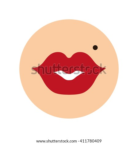 Lips,red flat icon,vector sign.Kiss symbol,love,beauty button.Girl ,Woman mouths,nevus,birthmark,red lipstick makeup.Isolated. Romantic,passion,cancer,health ,sex symbol.Fashion - stock vector