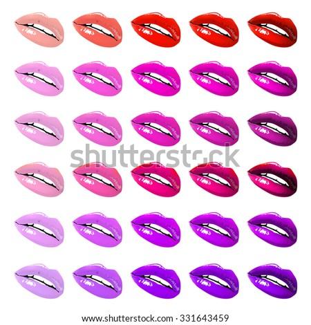 Lips set. design element. female woman girl art - stock vector