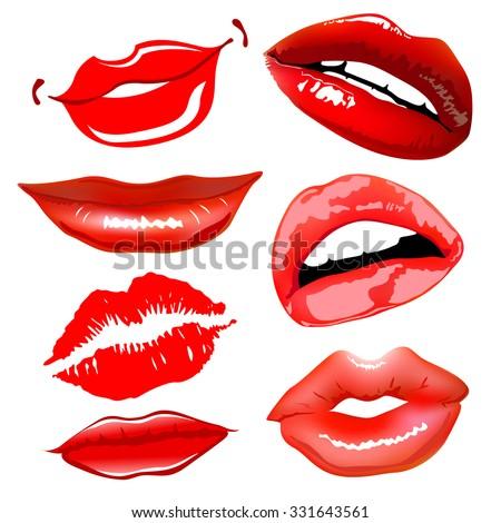 Lips set. design element. female woman girl art vector - stock vector