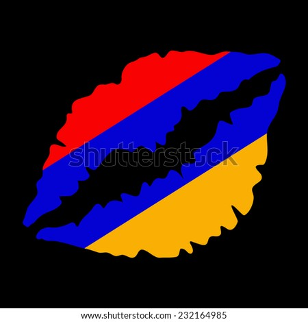 lips vector on black background - stock vector