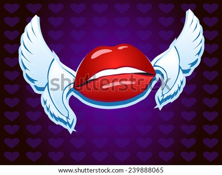 lips with wings  - stock vector