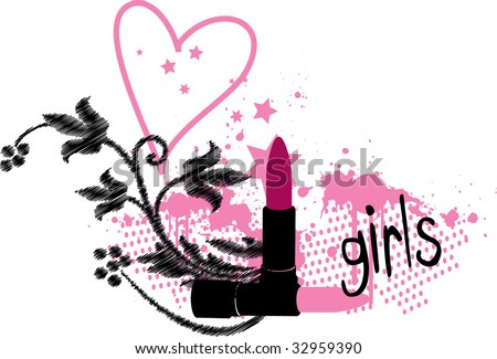 lipstick and flowers - stock vector