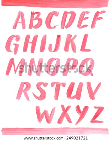 Lipstick font. Hand drawn red oil painting alphabet. - stock vector