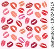 Lipstick kiss background - stock vector
