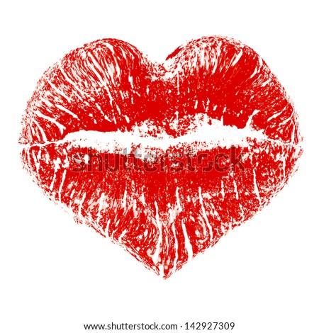 Lipstick kiss in heart shape - stock vector