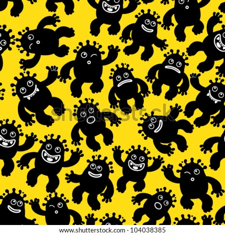 Liquid Monsters Seamless Pattern - stock vector