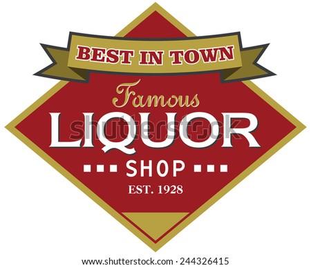 liquor shop label - stock vector