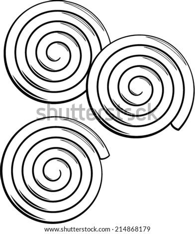 liquorice candy wheels - stock vector