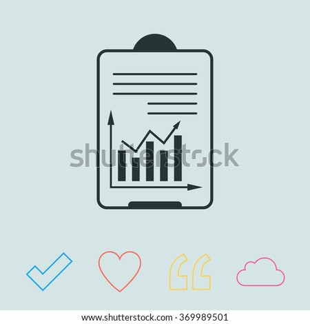 List icon with graph chart - stock vector