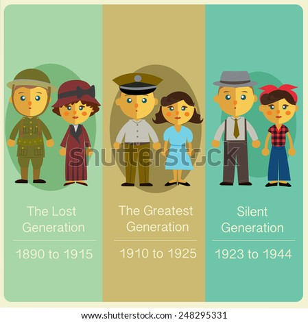 List of generations,The Lost Generation,The Greatest Generation,The Silent Generation. - stock vector