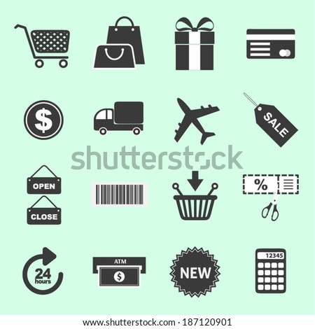 List of shopping related icons - stock vector