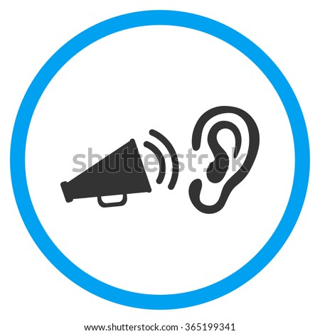 Listen Advertisement vector icon. Style is bicolor flat circled symbol, blue and gray colors, rounded angles, white background. - stock vector