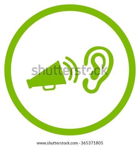 Listen Advertisement vector icon. Style is flat circled symbol, eco green color, rounded angles, white background. - stock vector