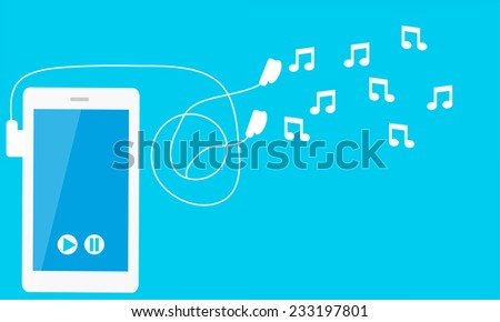 Listen to music. Phone with headphones and notes. Vector illustration - stock vector