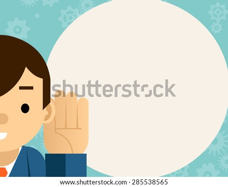 Listening. Businessman holds hand near ear. Attention and sound, communication and gesture, person listen, vector illustration - stock vector