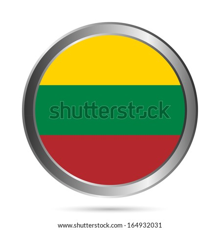 Lithuania flag button on a white background. Vector illustration. - stock vector