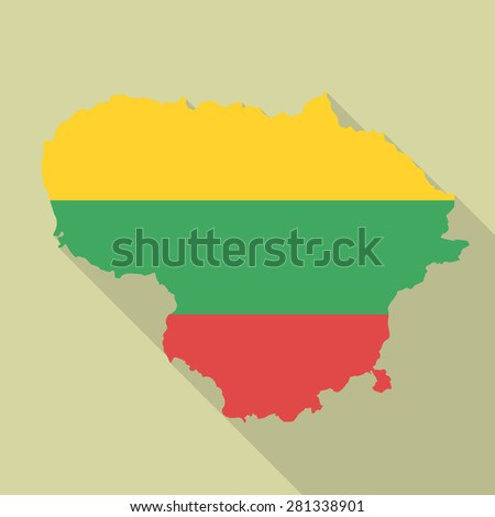 Lithuania flag,map flat icon with long shadow. Vector EPS10 - stock vector