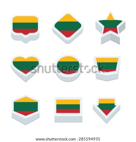 lithuania flags icons and button set nine styles
