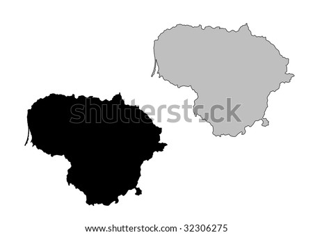 Lithuania map. Black and white. Mercator projection. - stock vector