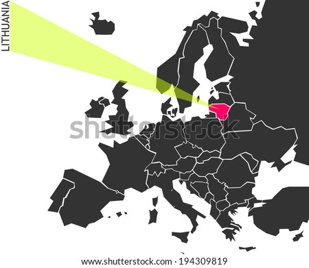 Lithuania - political map of Europe with marked state. Marker looks like ray of light. (vector illustration) - stock vector