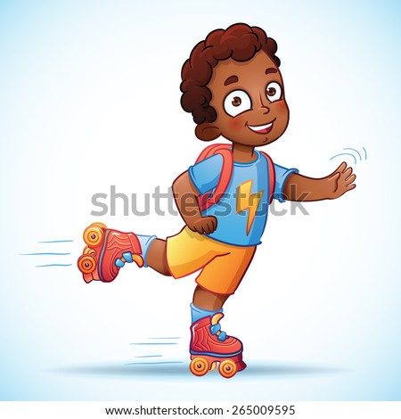 Little african american boy riding on roller skates. Happy child enjoys the speed and freedom - stock vector