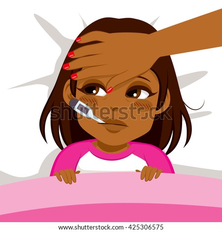 Little African American girl ill in bed with thermometer and mother's head on front - stock vector