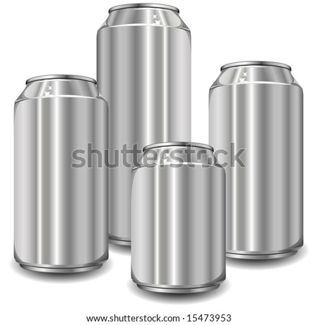 Little aluminum jars for drinks of different size, vector illustration