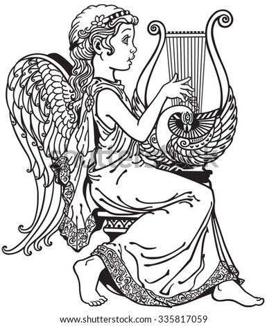 little angel girl playing lyre .Black and white side view image