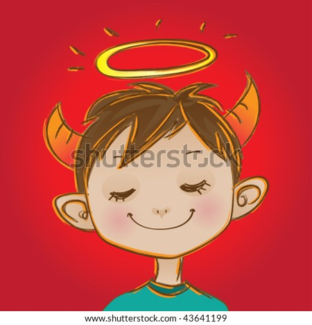 Little angel. Vector illustration of an angel looking kid. - stock vector