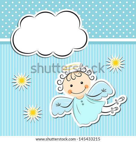 Little angel with stars and cloud - stock vector
