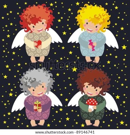 Little angels - stock vector