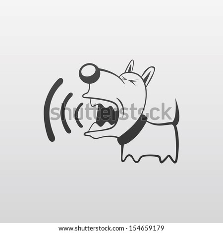 little angry dog barks - stock vector