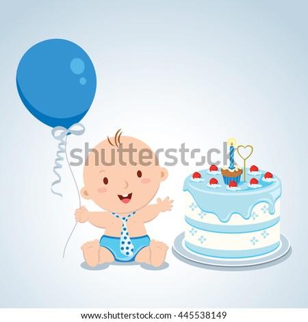 Little baby boy birthday. Vector illustration of a baby boy celebrating his first birthday. - stock vector