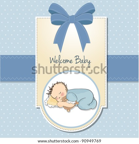 little baby boy sleep with his teddy bear toy - stock vector